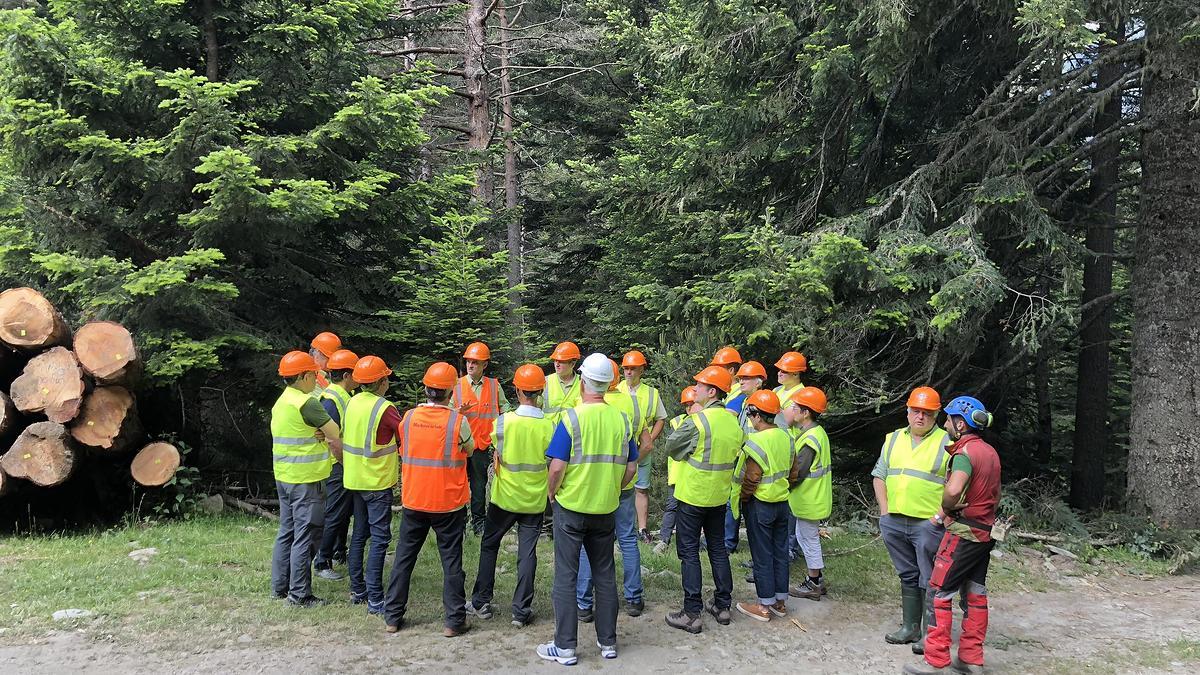 Jean-Lou Meunier, directeur de l'agence territoriale ONF des Hautes-Pyrénées explique aux élus présents les intérêts d'un chantier par câble-mât